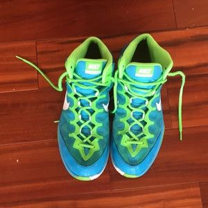 NIKE ZOOM WITHOUT A DOUBT GRN & BLUE SHOES SZ 13